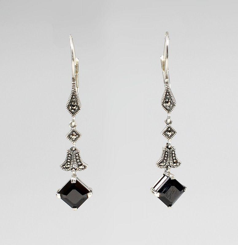 925er Silber Ohrringe Onyx und Markasiten 9903108
