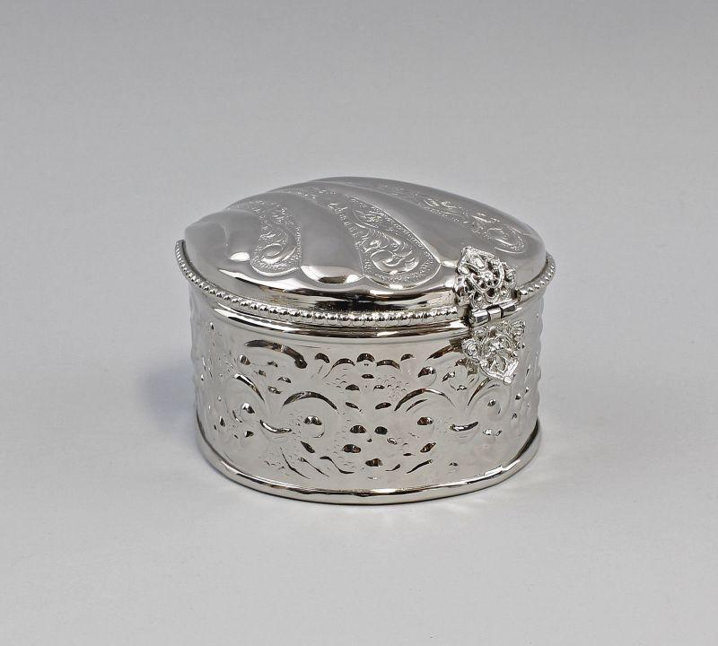 Silberfarbene Deckel-Dose in Muschelform Konfekt-Dose vernickelt  9977400