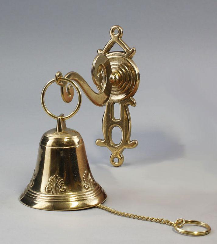 Goldfarbene Wand-Glocke Klingel Messing poliert 9977154