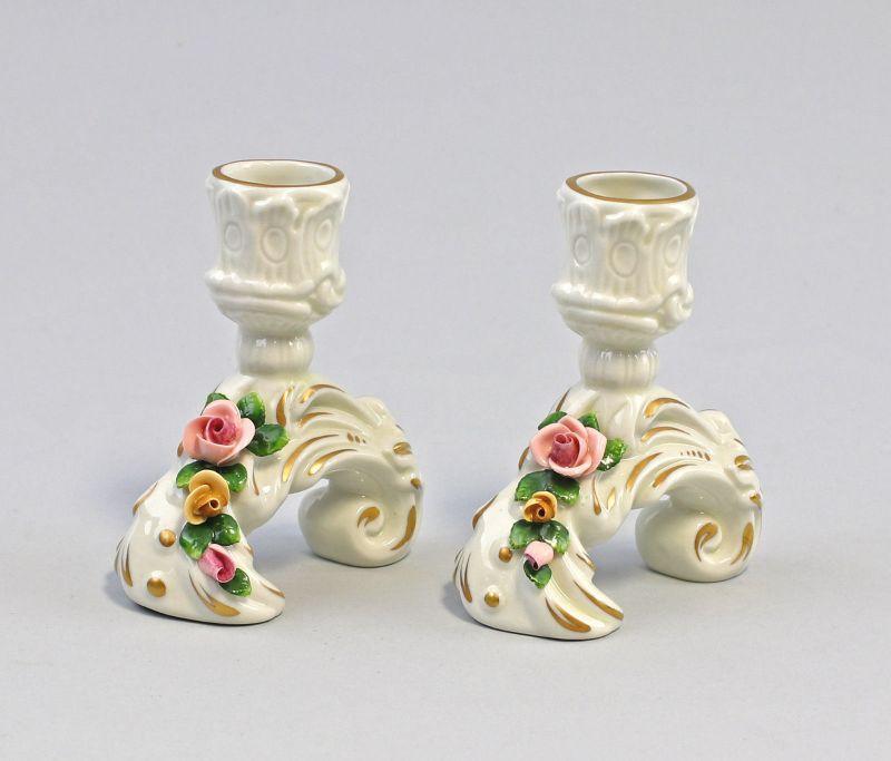 99840462 Paar Porzellan Leuchter Kämmer Volkstedt Rosen H8,5cm