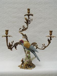 9937827-dss Messing Keramik 3-flammiger Leuchter Kerzenständer Papagei H62cm