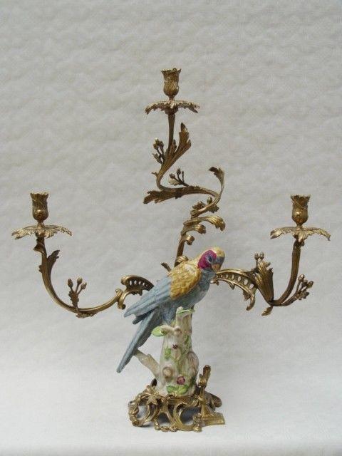 9937818-dss Messing Keramik 3-flammiger Leuchter Kerzenständer Papagei H62cm