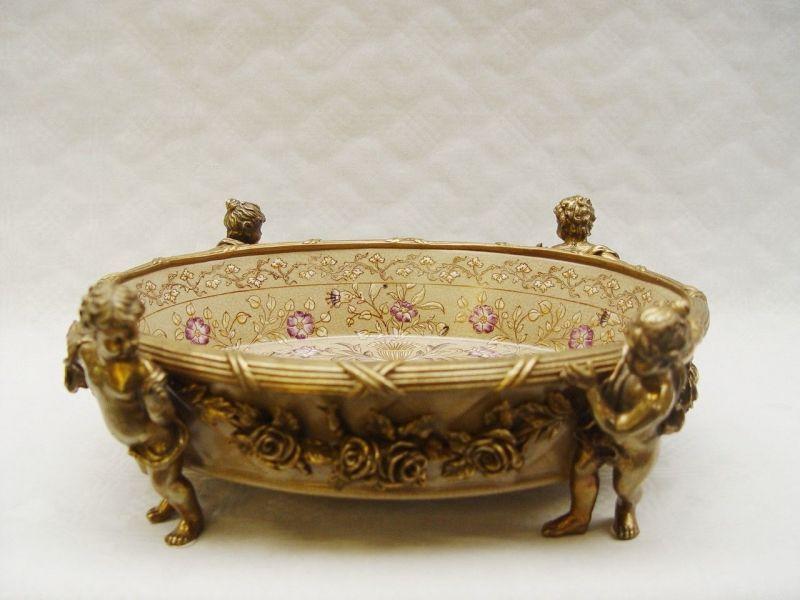 99937862-dss Bronze Keramik Tafel-Aufsatz Schale mit Putten Putto 12x32cm