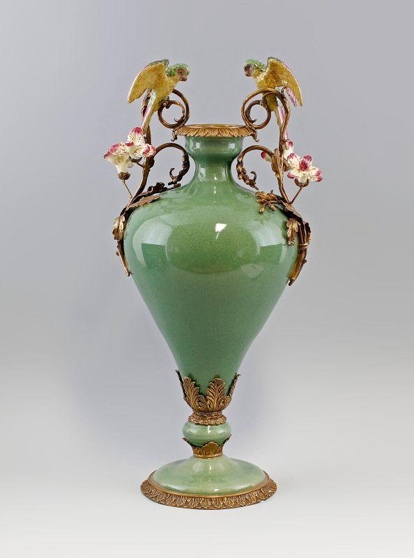 9937108-dss Bronze Keramik große Vase Papageien H56cm