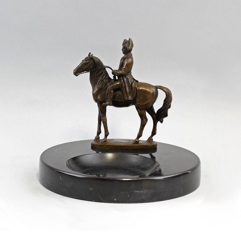 9937640 Bronze-Plastik sign.A.Canova Napoleon auf Visitenkartenschale Onyx