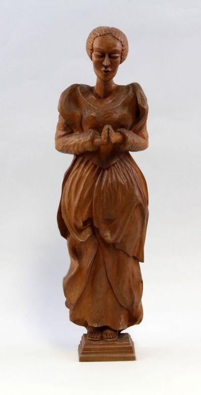 Geschnitzte Holz Skulptur Betende Frau um 1930 99869011