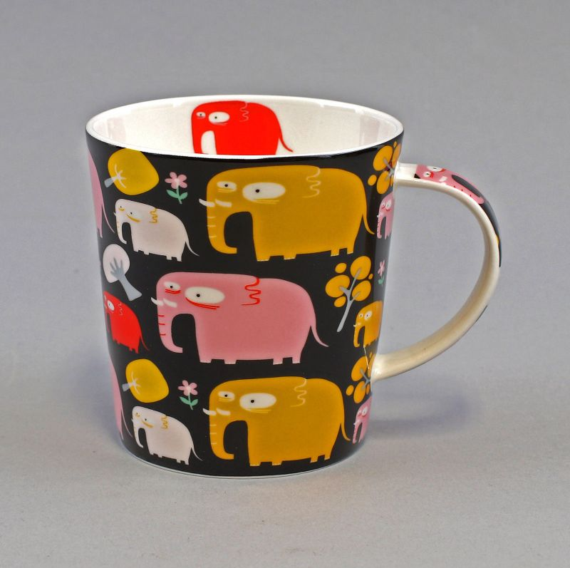 52487 Becher Tasse Porzellan Elefant Retro H9cm 0,4L