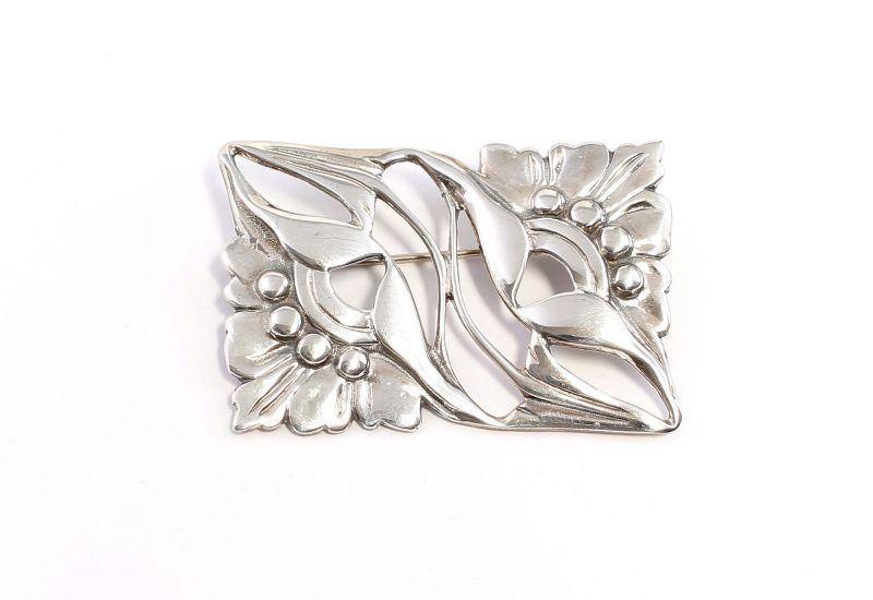 925er Silber Jugendstil-Brosche floral 9901616