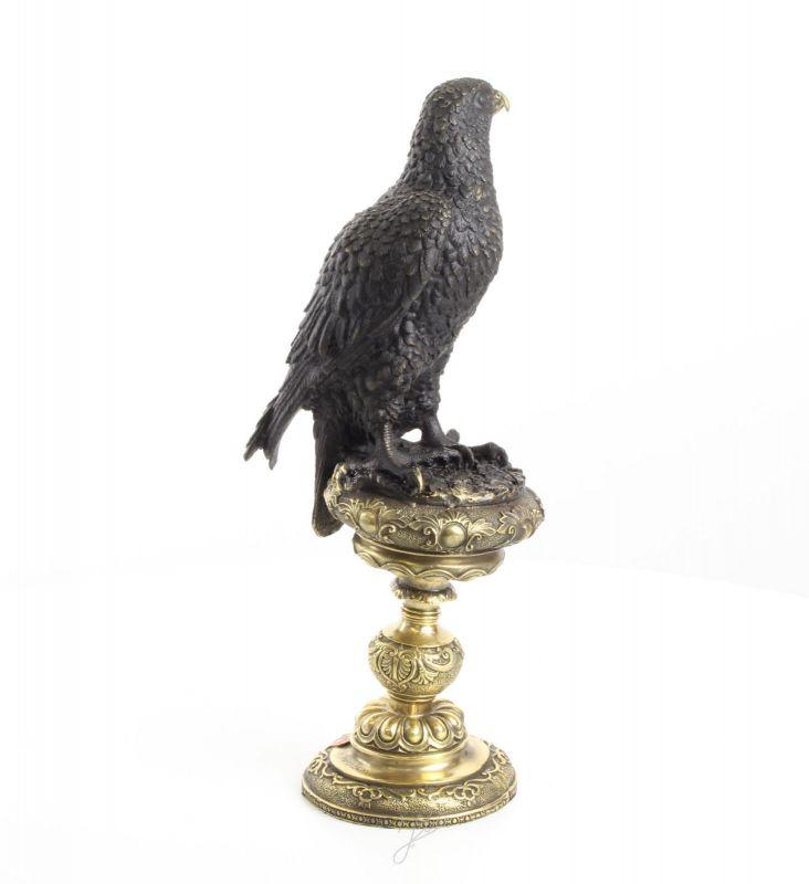 9973463-dss Bronze Skulptur Figur Adler auf Horst 14x19x43cm