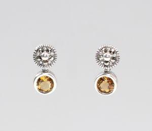 925er Silber Citrin Markasiten Ohrringe Antikstil 9927558
