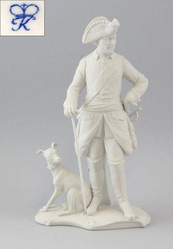 Kämmer Bisquit Porzellan Figur Alter Fritz Friedrich II. mit Hund H25cm 9944117#
