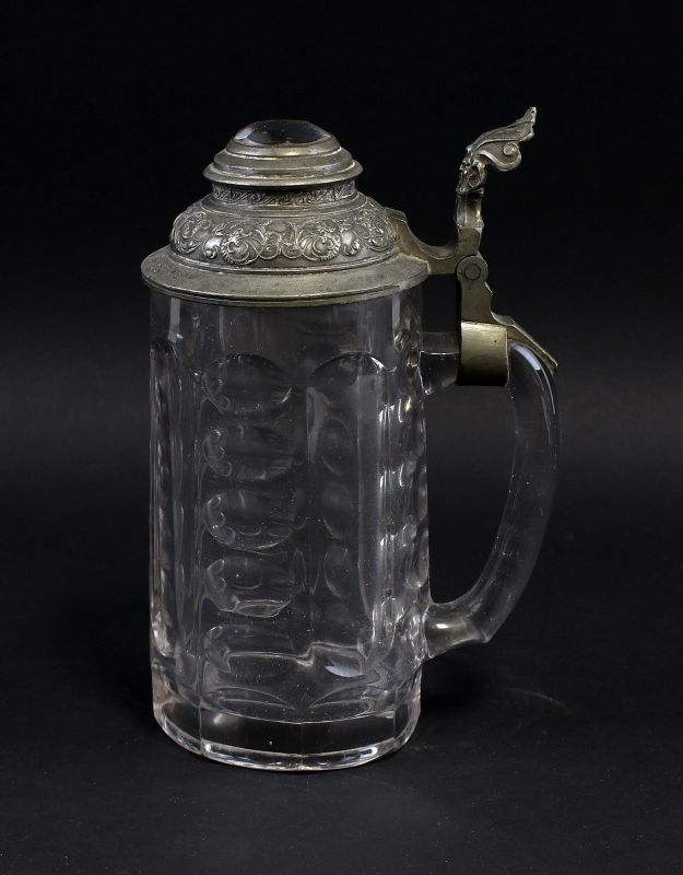 8135045 Glas Bierkrug mit Zinndeckel A. Landgraf