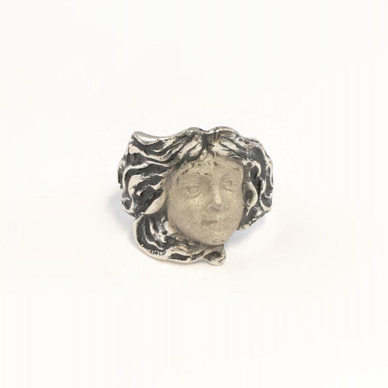 925er Silber Jugendstil-Ring Gesicht / Antlitz Gr. 54 9901425