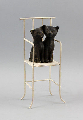 Cat couples im Chair, Cast metal, with dark Patina, new 9937485