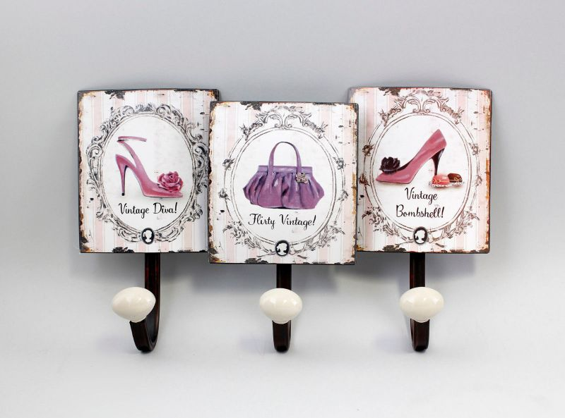 9973118 Metall Wand-Haken-Leiste Shabby-Chic Vintage Schuhe Tasche 20x32cm