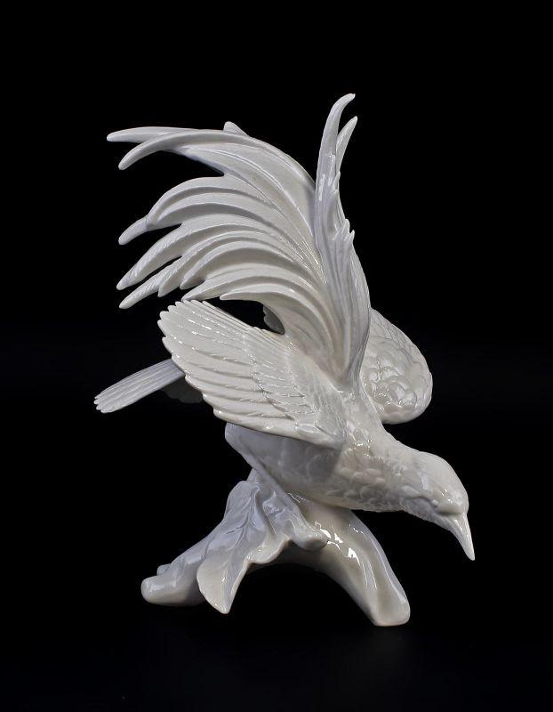 9959360 Porzellan Ens Figur großer Paradiesvogel weiß H21cm