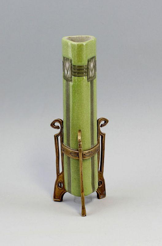 9937403 Keramik Jugendstil Vase in Messing-Gestell H24,5cm