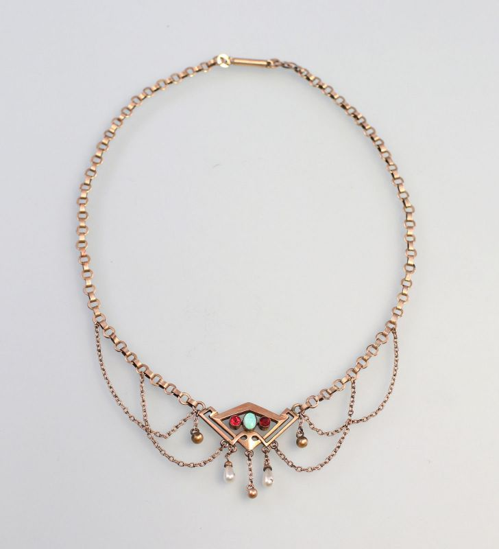 8225001 Jugendstil-Collier Tombak vergoldet Opal, Rubine L38cm