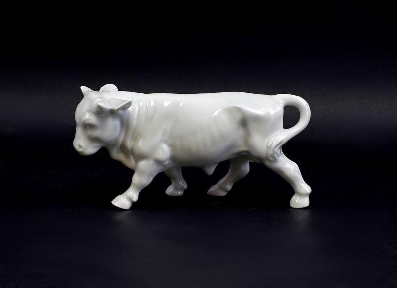 9986011 Porzellan Figur Krippenfigur Ochse Lindner Weißporzellan 18x10cm