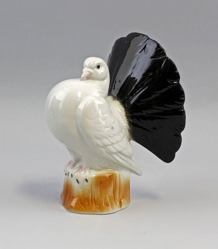Porzellan Figur Vogel Pfauen-Taube Zuchttaube schwarz/weiß H17cm 9942562