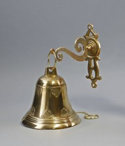 Goldfarbene Wand-Glocke Klingel Messing poliert 9977341