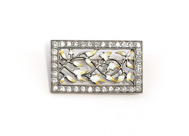 925er Silber emaillierte Jugendstil-Brosche mit Swarovski-Steinen floral 9901592