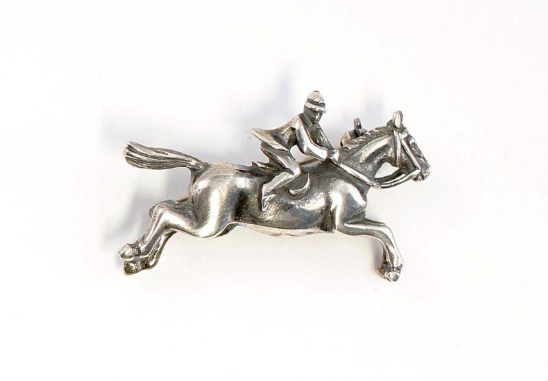 925er Silber Brosche Pferd mit Reiter im Galopp 9901608