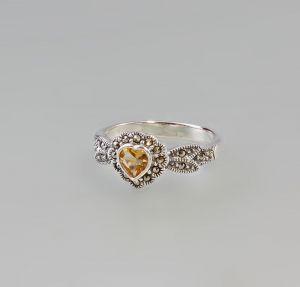9927450 925er Silber Citrin-Markasit-Ring Herz  Gr.56