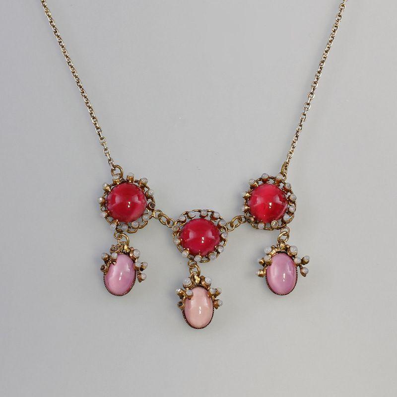 Collier mit roten Steinen und Perlen Vintage 99825184