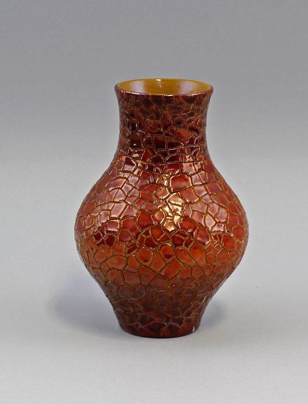 Keramik Künstler-Vase Zsolnay Pécs Ungarn um 1930 Schlangenhaut-Optik 99845238