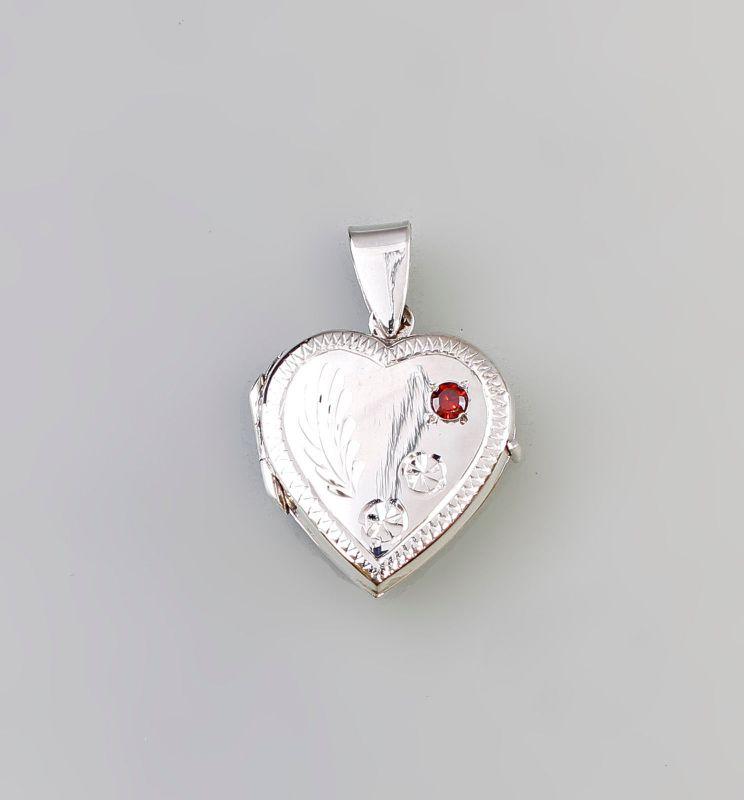 9927412 925er Silber Granat-Medaillon Anhänger Herz