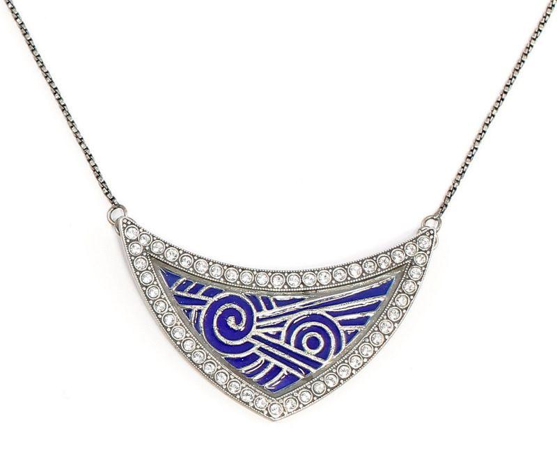 925er Silber emailliertes Jugendstil-Collier mit Swarovski-Steinen blau 9901697
