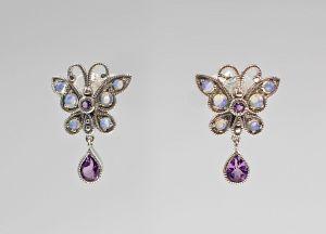 9927259 925er Silber Opal-Amethyst-Ohrringe Antikstil Schmetterling