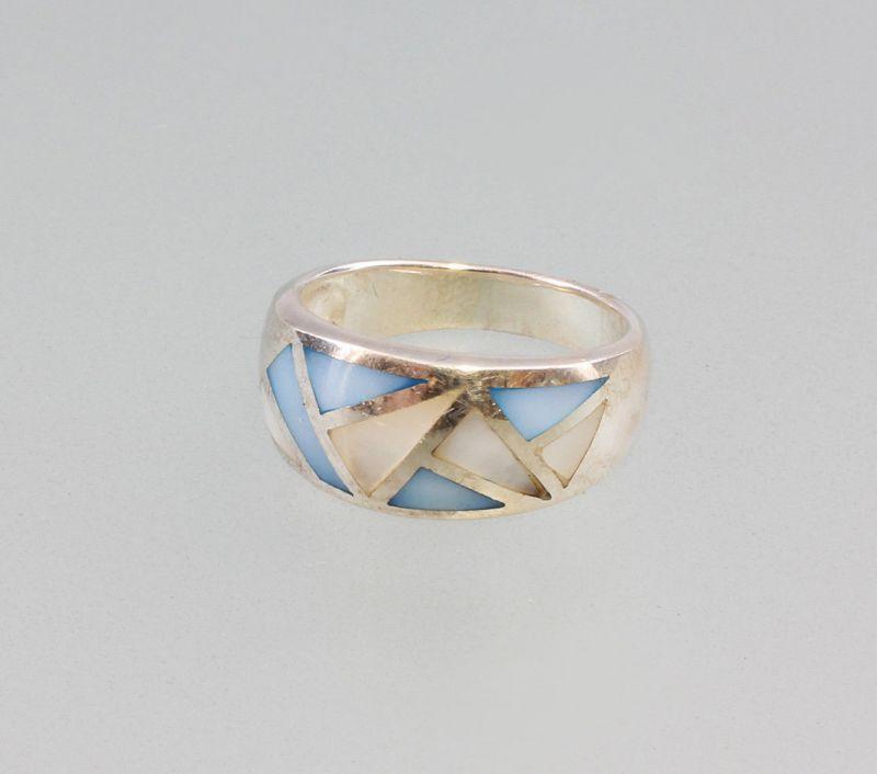 9925713 925er Silber Ring Perlmutt blau Gr.57