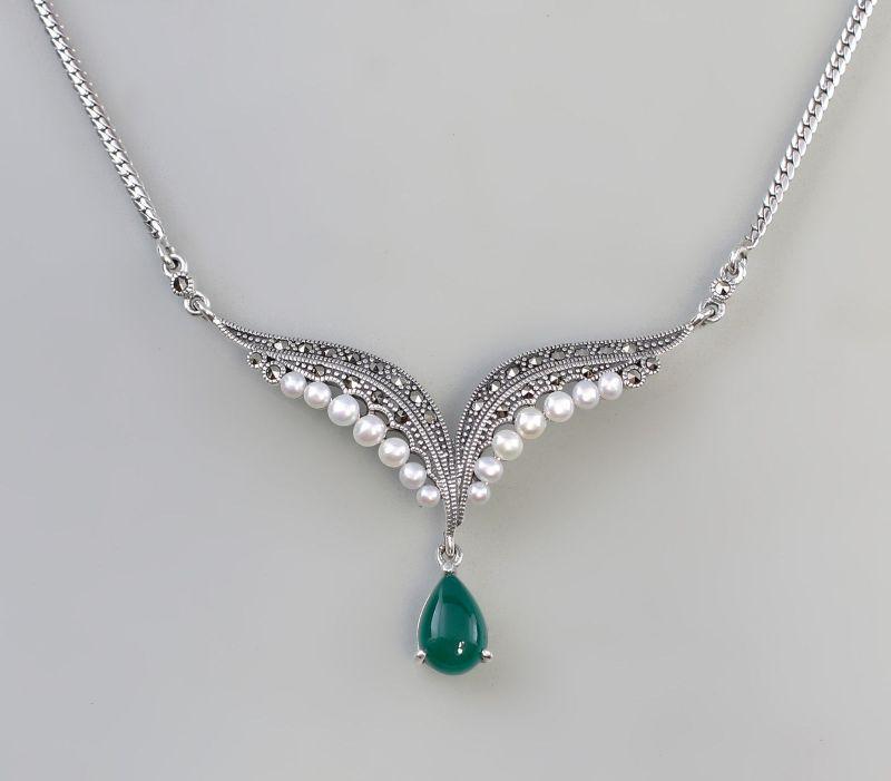 9927168 925er Silber Markasiten Collier Zucht-Perlen Grünachat L48cm
