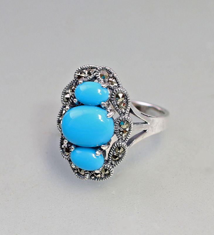 9927184 925er Silber Markasiten Ring Türkis Gr.54