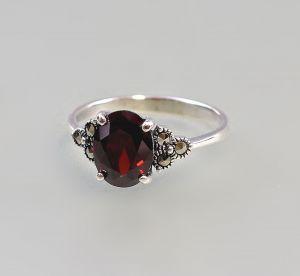 9927188 925er Silber Markasiten Ring Granat Gr.53