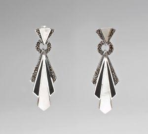 9927336 925er Silber Markasiten Perlmutt Ohrringe L5,2cm