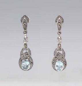 9927182 925er Silber Markasiten Blautopas Ohrringe 4,3x1,1cm