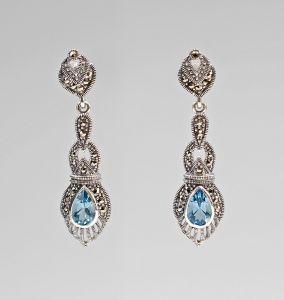 9927303 925er Silber Markasiten Blautopas Ohrringe 1,5x5cm