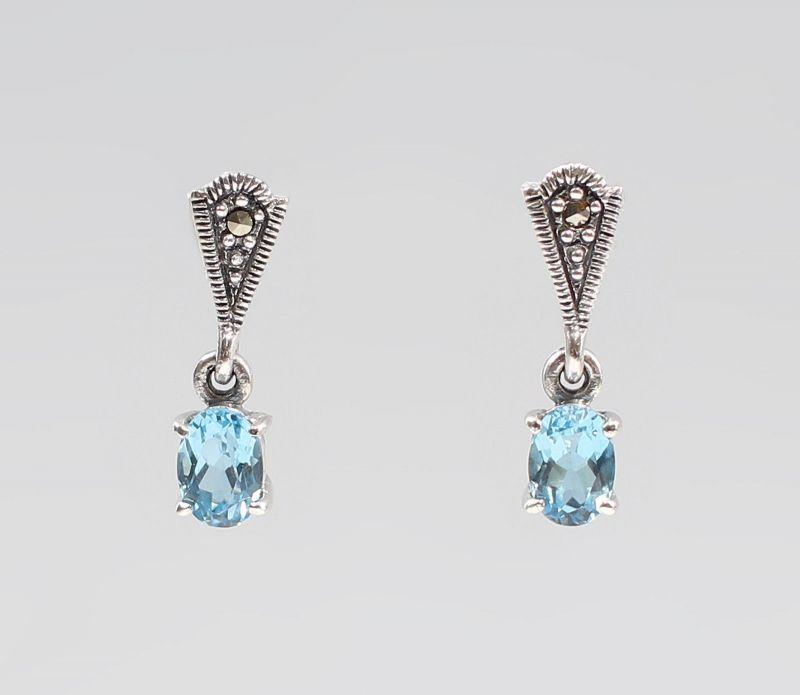 9927549 925er Silber Markasiten Blautopas Ohrringe L2cm