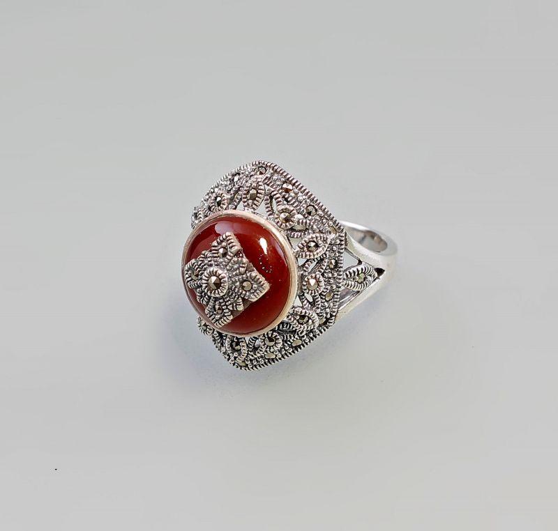 9927294 925er Silber Markasiten Karneol Ring Gr.56