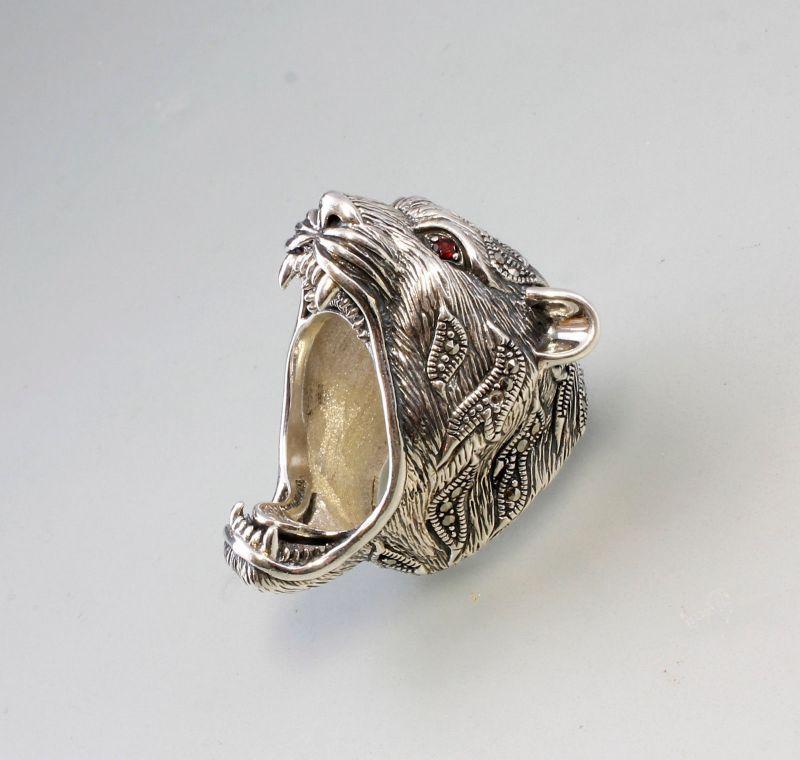 9927439 925er Silber Markasiten Ring Panther-Kopf Granataugen Gr.62