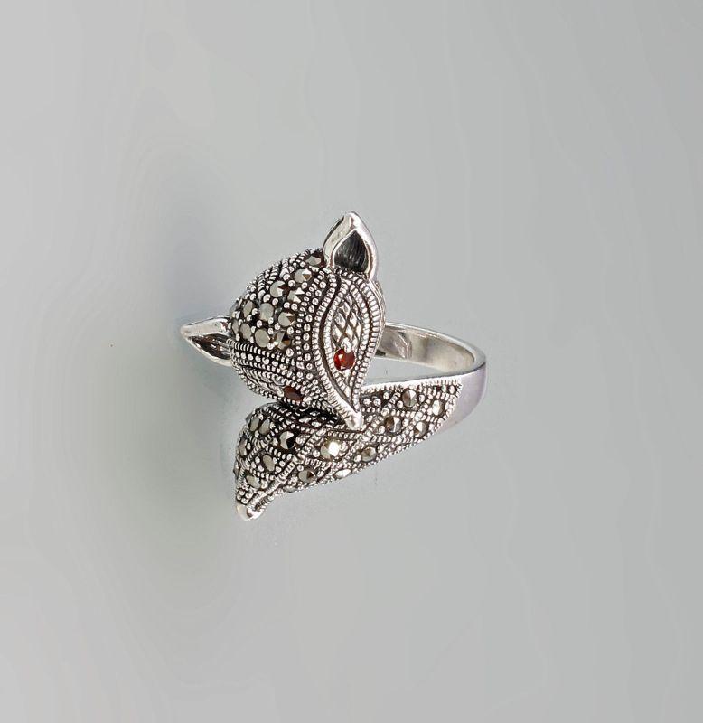 9927441 925er Silber Markasiten Ring Fuchs Granataugen Gr. 56