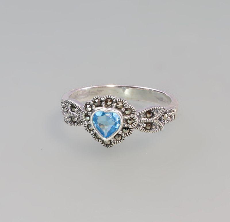 9927577 925er Silber Blautopas Markasiten Ring Herz  Gr. 59