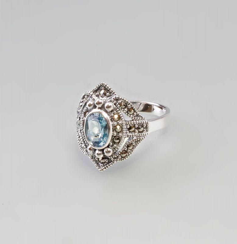 9927456 925er Silber Blautopas Markasiten Ring  Gr. 56