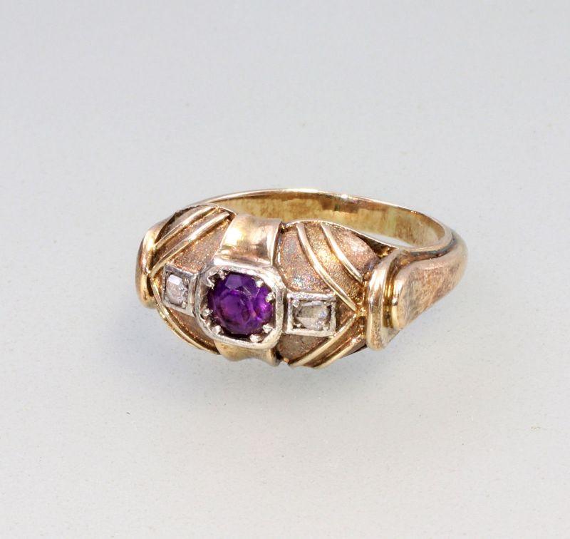 8325041 585er Gold Amethyst-Diamant-Ring Historismus antik Handarbeit