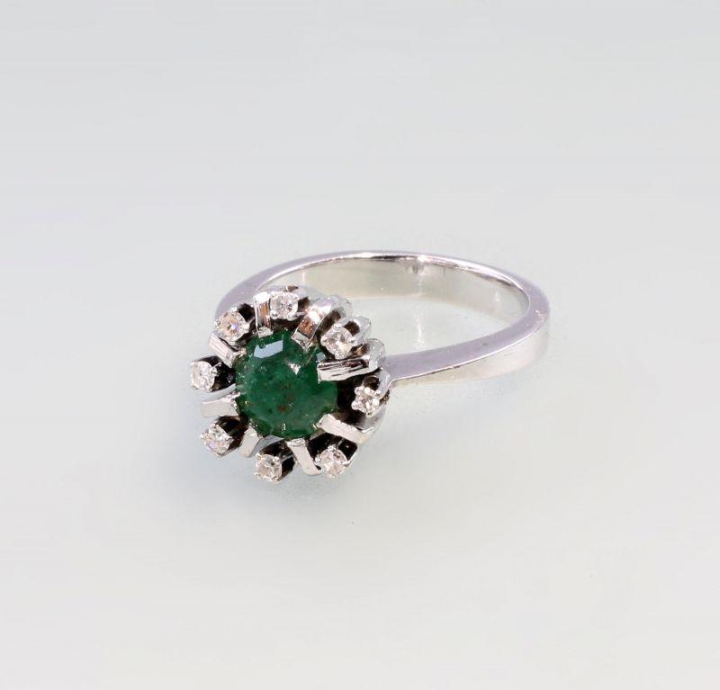 8325064 585er Gold Smaragd Brillant Ring Art deco