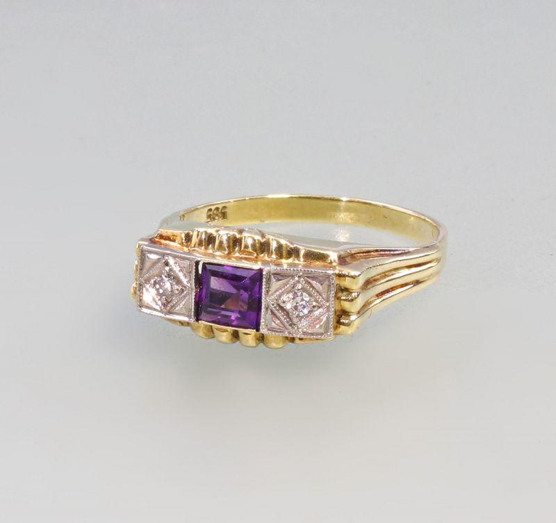 8325038 585er Gold Amethyst Brillant Ring Art deco
