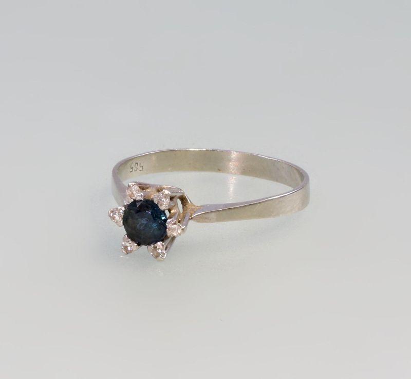 8325024 585er Gold Saphir Brillant Ring Weißgold